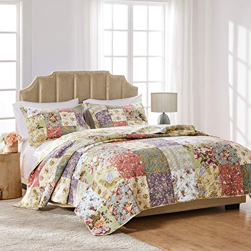 Greenland Home Blooming Prairie Cotton Patchwork Quilt Set, 3-Piece Full/Queen