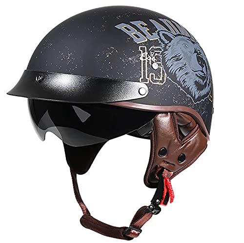 Adult Half Helmet Retro Motorcycle Helmet Brain Cap,DOT Certified Gorra de Calavera Unisex Para Adultos Para Bicicleta, Scooter, Casco de Verano Half Helmet Casco Anticolisión Bear,XXL=63cm