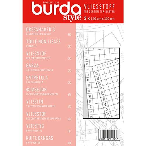 Burda Style Tissu non tissé avec grille en centimètres pour la couture et le bricolage | Règle de couture | 2 feuilles 140 x 110 cm – Rouge – Taille unique