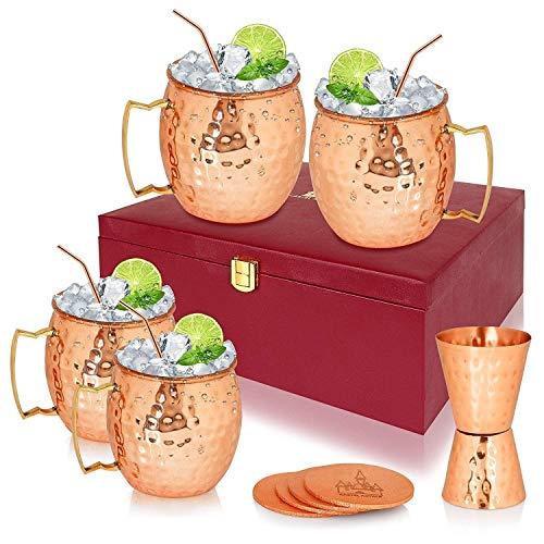 OMG-Deal Moscow Mule - Juego de tazas de cobre (4 unidades, 4 pajitas de cobre, 4 posavasos + 1 taza de doble tiro con bonita caja de regalo)