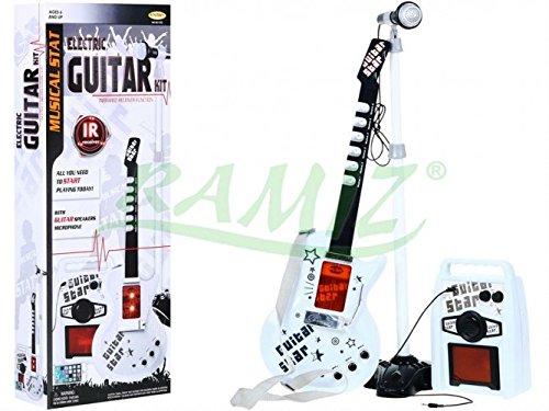 Guitarra Eléctrica de Juguete - Guitarra Micrófono Amplificador - Blanco