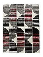 Oxford Collection スタイル23 レッド ブラック グレー ホワイト アンティーク調 モダン 抽象 エリアラグ 5'.1'' x 7'.2'' Oxford 23