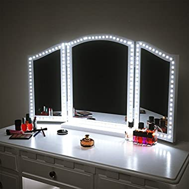 PANGTON VILLA Vanity Mirror Lights Kit for Makeup Dressing Table Set, 13ft Flexible LED Strip 6000K Daylight White with Dimmer and Power Supply