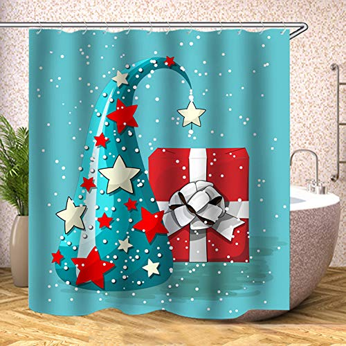 TJZ HOME Christmas Hats and Gifts Shower Curtains Fabric, Funny Cute Turquoise Red White Polyester Cloth Print Bathroom Curtains Include Hooks Set 72〃w by 72〃L