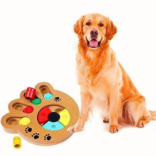 GFEU Juguete de inteligencia para mascotas, juguete interactivo ecológico, juguete divertido para esconder y buscar alimentos tratada de madera para mascotas Paw, puzzle para perros pequeños o medianos y gatos