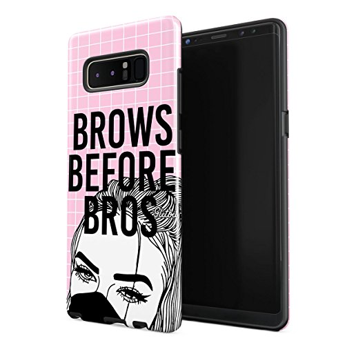 Glitbit Compatible with Samsung Galaxy Note 8 Case Glamourholic Brows Before Bros Makeup Sassy Slay Girl for Girls Tumblr Quotes MUA Shockproof Dual Layer Hard Shell + Silicone Protective Cover