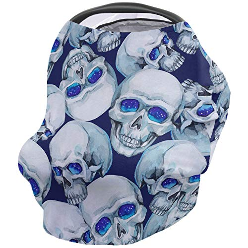 Buy Bargain Skulls Nursing Cover for Baby Breastfeeding, Soft Breathable Stretchy Carseat Canopy, Nu...