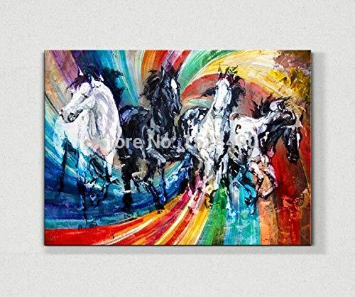 SUNFFFW Pinturas De Animales Pintadas A Mano para La Decoración De La Habitación Caballo Éxito Instantáneo Pintura Al Óleo sobre Lienzo Colgar Imágenes En La Pared Artesanía