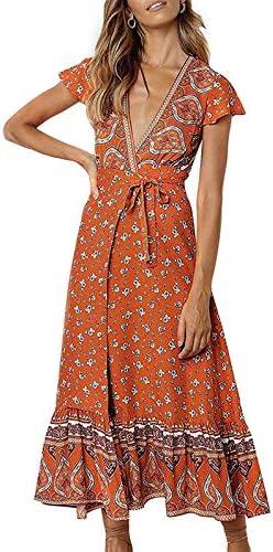 ZESICA Women s Bohemian Floral Printed Wrap V Neck Short Sleeve Split Beach Party Maxi Dress product image