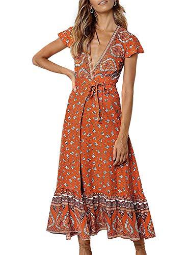 ZESICA Women's Bohemian Floral Printed Wrap V Neck Short Sleeve Split Beach Party Maxi Dress Tangerine