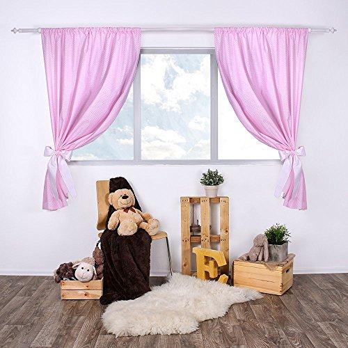 LULANDO Kinderzimmer Vorhänge Kindervorhänge Gardinen (155 cm x 120 cm) mit zwei Schleifenbändern zum Verzieren. In kinderfreundlichen Motiven erhältlich. Farbe: White Dots / Pink