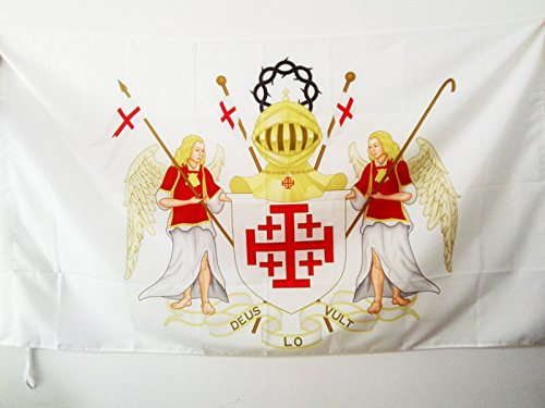 AZ FLAG Flagge RITTERORDEN VOM HEILIGEN Grab ZU Jerusalem 150x90cm - OESSH Fahne 90 x 150 cm Scheide für Mast - flaggen Top Qualität