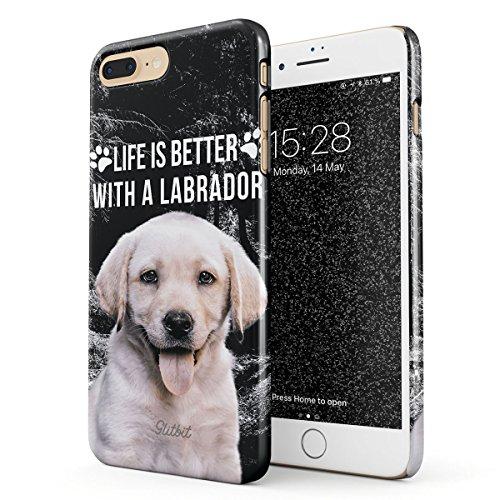 Glitbit Cover per iPhone 7 Plus / 8 Plus Case Life Is Better with Labrador Cute Dog Puppy Acessories Gifts for Labradors Owner Cane Sottile Guscio Resistente in Plastica Dura Custodia Protettiva