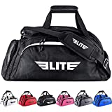 Boxing gym duffle Bag For MMA, BJJ, Jiu Jitsu gear, Elite Sports duffel athletic gym backpack with shoes compartment (Black, Large)