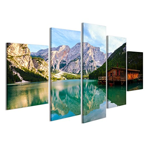 islandburner, Quadro moderno Lago Braies (Pragser Wildsee) in montagne delle Dolomiti, Sudtirol, Italia Stampa su tela - Stampa su tela - Quadri moderni LAD-MFP-IT4