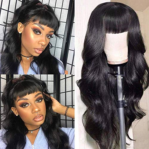 SINGLE BEST Body Wave Human Hair Wigs with Bangs Brazilian Virgin Hair Wigs None Lace Front Wigs Glueless Machine Made Wigs for Black Women Natural Color 18inch