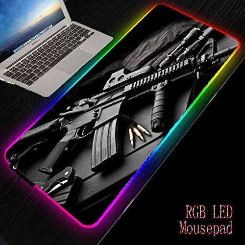 FVNJHL Gun Gaming RGB Alfombrilla de ratón Grande Gamer Alfombrilla Grande Alfombrilla de Ordenador Retroiluminación LED Teclado Escritorio 30 * 80Cm