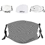 Fillter Face Cloth For Adults Optical Illusion Monochrome Stripes Modern Perspective Cold Mouth Dustproof Double Protection