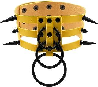 Women Leather Choker Necklace Girl Punk Black Spike Rivet Collar Choker Adjustable