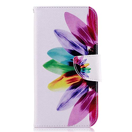 Uposao Kompatibel mit Handyhülle Huawei P Smart Handytasche Brieftasche Ledertasche Leder Hülle Muster Flip Case Klapphülle Standfunktion Kartenfach Magnetverschluss,Sonnenblume
