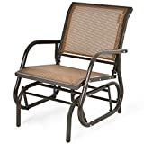 <span class='highlight'>COSTWAY</span> Garden Glider Chair, Metal Frame <span class='highlight'>Armchair</span> Swing Single Seater, Outdoor Indoor Relax <span class='highlight'>Rocking</span> Chairs for Living Room, Patio, Porch and Poolside (Brown)