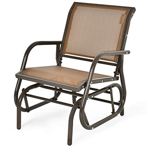 COSTWAY Garden Glider Chair, Metal Frame Armchair Swing Single Seater, Outdoor Indoor Relax Rocking Chairs for Living Room, Patio, Porch and Poolside (Brown)