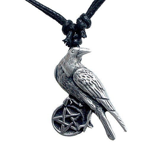 Wiccan Jewelry Crow Raven Pentacle Pentagram Star Magick Pagan Wicca Witch Witches Warlock Magic Protection Amulet Wealth Money Lucky Charm Pewter Men's Pendant Necklace Charm w Black adjustable Cord
