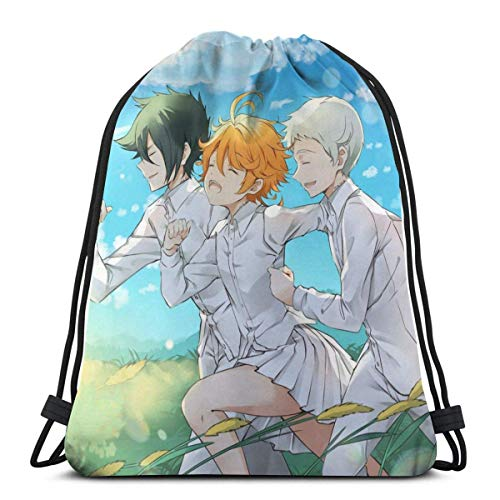IUBBKI Yakusoku No Neverland Running Drawstring Bag Sport Gym Mochila Almacenamiento Goodie Cinch Bag