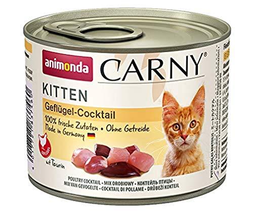 animonda Carny Kitten Katzenfutter, Nassfutter Katzen bis 1 Jahr, Geflügel-Cocktail, 6 x 200 g