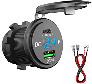 PD Type C USB Car Charger Socket and QC 3.0 Quick Charger 12V/24V Car Power Outlet Waterproof Socket 64W Dual USB Charger ...