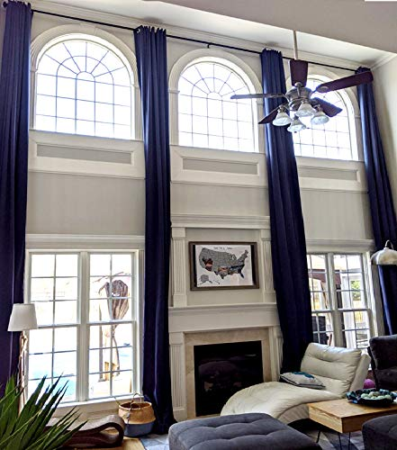"""Blackout Extra Long Curtain for 2 Story Living Rooms, Drape 10,12, 14, 15 16, 17, 18, 20, 24 feet Long 100 and 50 inche Wide. (Navy Blue, 50"""" Wx156 L)"""