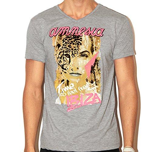 Amnesia Ibiza: Camiseta Hombre Wildlife - Gris, M - Medium