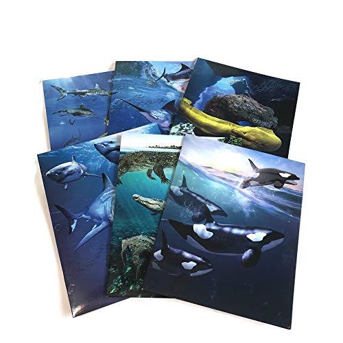 Cool Ocean Predators School Supply Bundle: 6 Items: Six Assorted Kittrich Marine Predators Subject Folders