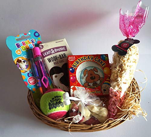 Paradise Pets GIFT WRAPPED DOG BIRTHDAY PARTY PACK WITH CARD CAKE BUBBLES CHOC & POPCORN