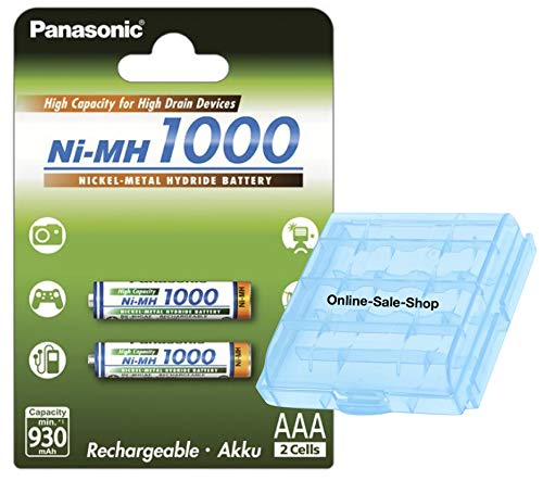 2 x Panasonic AAA batterij 1000 mAh oplaadbare batterijen vervangende batterij voor Siemens Gigaset draadloze telefoon C100 C150 CX100 CX150 C1 C200 C250 C2 C380 C385 C38H C450 incl. OSS accubox