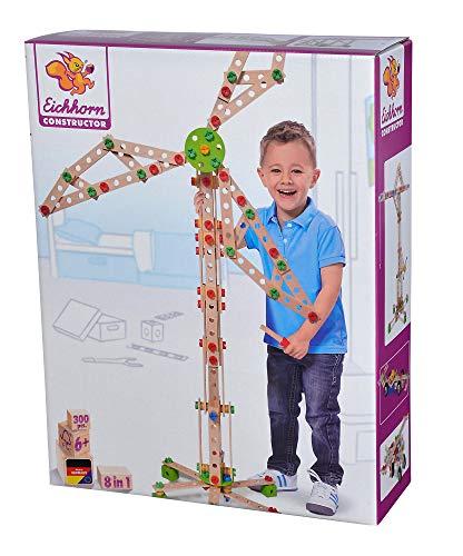 Eichhorn 100039046 - Constructor Windrad - vielseitiges Holzspielzeug 300 Bauteile, 8 verschiedene Konstruktionen, für Kinder ab 6 Jahren, FSC 100% Buchenholz