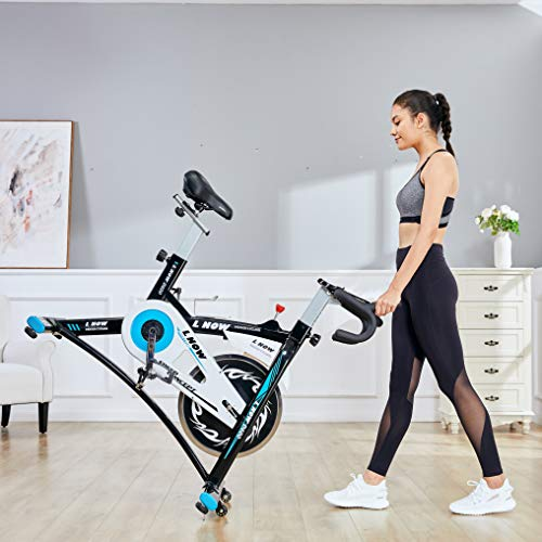 L NOW Indoor Exercise Bike Indoor Cycling Stationary Bike, Belt Drive with Heart Rate, Adjustable Seat and Handlebar, Tablet Holder, Stable Quiet and Smooth for Home Cardio Workout(D600-1)