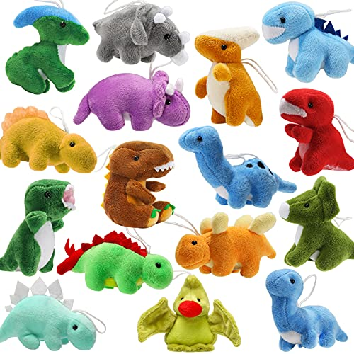 16 Pack Plush Dinosaurs, Mini Dinosaur Figures Assortment Keychain Toy, Soft Dino Stuffed Animal Set Gifts for Kids, Great for Stocking Stuffers, Doll Machine, Toddler Party Favors, Valentine Bulk