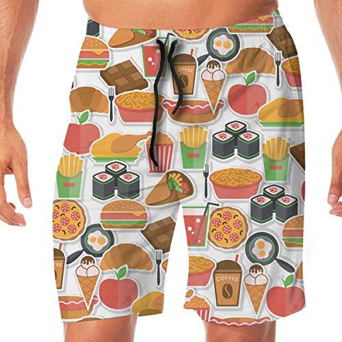 Fast Food Icon Quick Dry Elastic Lace Boardshorts Beach Shorts Broek Zwembroek Trunks Badpak met Zakken.