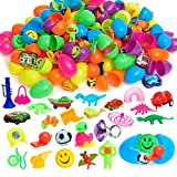 200 Filled Easter Eggs with Mini Toys and Figures - 2.25 Inch Egg for Easter Basket Stuffers, Kids Birthday Party Favors, Goodie Bags, Pinata Surprise, Tiny Gifts