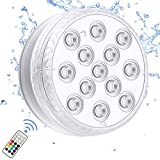 Chakev Submersible Led Pool Lights, 16 Colors Underwater Pond Lights with Remote, Waterproof Magnetic Bathtub Light with Suction Cup Hot Tub Light for Pond Fountain Aquariums Vase Garden Party 1 Pack