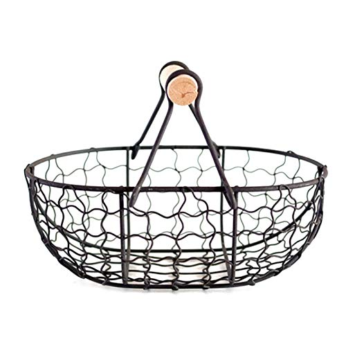 Haoooanzwl Caisse Rangement Poignée en Bois Alliage Panier rétro Portable Multi-Fonction Végétières Fruits d'œufs Épicerie des œufs Hardhead Badyed Basket Organisateur Noir