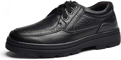 2019 Richelieus Homme, Chaussures habillées Oxford en Cuir véritable pour Hommes à Lacets avec Bout Rond (Couleur   Noir, Taille   44 EU)