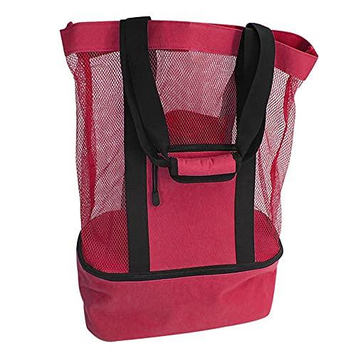 41x17x51cm mesh picknick rugzak, nylon badpak tas, grote strandtas met rits, reizen mesh tassen voor speelgoed