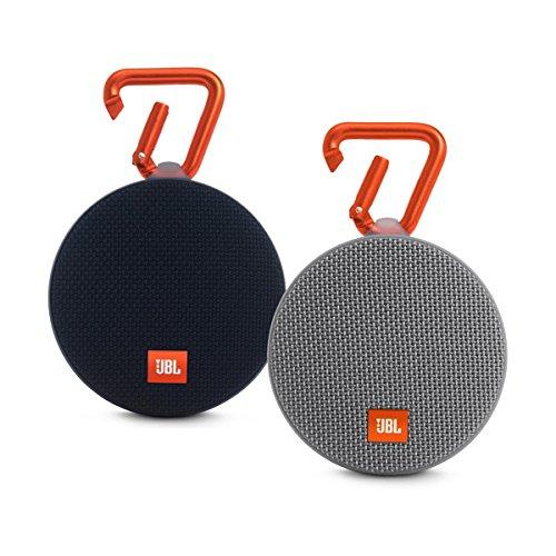 JBL Clip 2 Waterproof Portable Bluetooth Speaker Pair (Black/Black)