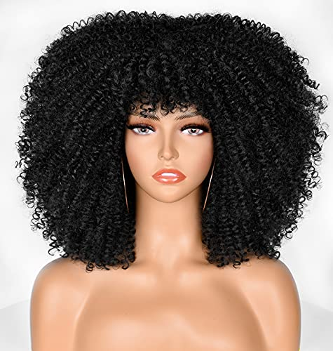 ANNIVIA-X Black Curly Wigs for Black Women Short Kinky Curly Afro Wig with Bangs Synthetic Heat Resistant Wigs Afro Full Wig (14inch)…