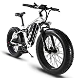 Cyrusher XF800 750W Electric Bike 264 Fat Tire Mountain Ebikes 7 Speeds Snow Beach Electric Bicycles with 13ah Battery (White)