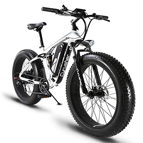 Cyrusher XF800 750-1500W Electric Bike 264 Fat Tire Mountain Ebikes 7 Speeds Snow Beach Electric Bicycles with 13ah Battery and Bag Rack for Men (White)