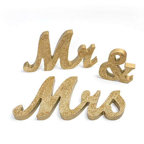 senover Mr and Mrs Sign Wedding Sweetheart Table Decorations,Mr and Mrs Letters Decorative Letters for Wedding Photo Props Party Banner Decoration?Wedding Shower Gift (Gold Glitter)