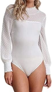 FSSE Women's Slim Fit Long Sleeve Patchwork Solid Bodysuit Jumpsuit Romper T-Shirt Top